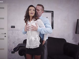Sweet woman pleases the man of the house with the forge have sexual intercourse upon his life