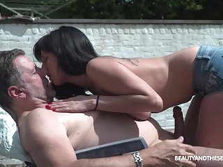 Pretty young chick living nextdoor shows put some life into pair to old neighbor